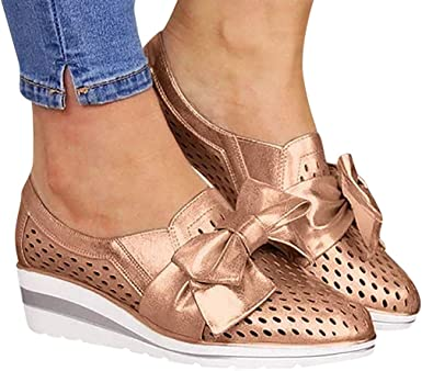 Women/'s Ladies Casual Bow-knot Slip On Flat Ankle Shoes Pumps Platform Loafers