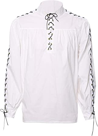 Men/'s Retro Medieval Renaissance Shirt Lace Up Tunic Shirts Cosplay Costume Tops
