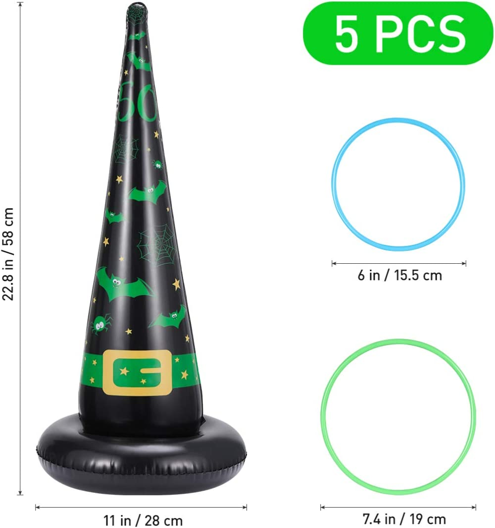 Halloween Ring Toss Game Set Inflatable Witch Hats with Plastic Rings for Halloween Party Games Indoor Outdoor Fun