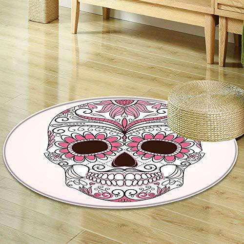 Round Rug Kid Carpet Sugar Skull Decor Mexican Ornaments Calavera Catrina Inspired Folk Art Macabre Pink Light Pink White Home Decor Foor Carpe R-24 -