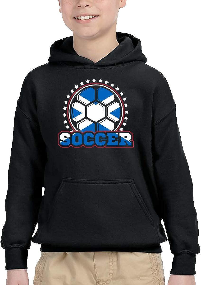 UGFGF-1S Scotland Flag Soccer Player Kid Boys Girls Long Sleeve Sweatshirt Pocket Hoodie 2-6T
