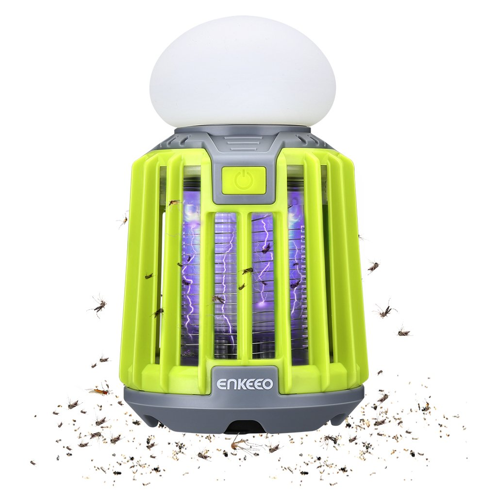 ENKEEO 2-in-1 Camping Lantern Mosquito Killer LED Tent Light Bug Zapper, IPX6 Waterproof, 2000mAh Battery (Green) by ENKEEO
