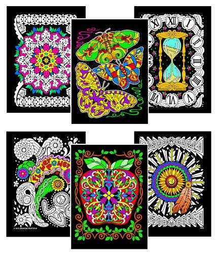 Butterfly Poster Velvet (Stuff2Color Butterflies, Geo Apple, Aztec, Ladybugs Pattern, Flower Power, Hourglass - 6 Fuzzy Velvet Coloring Posters)