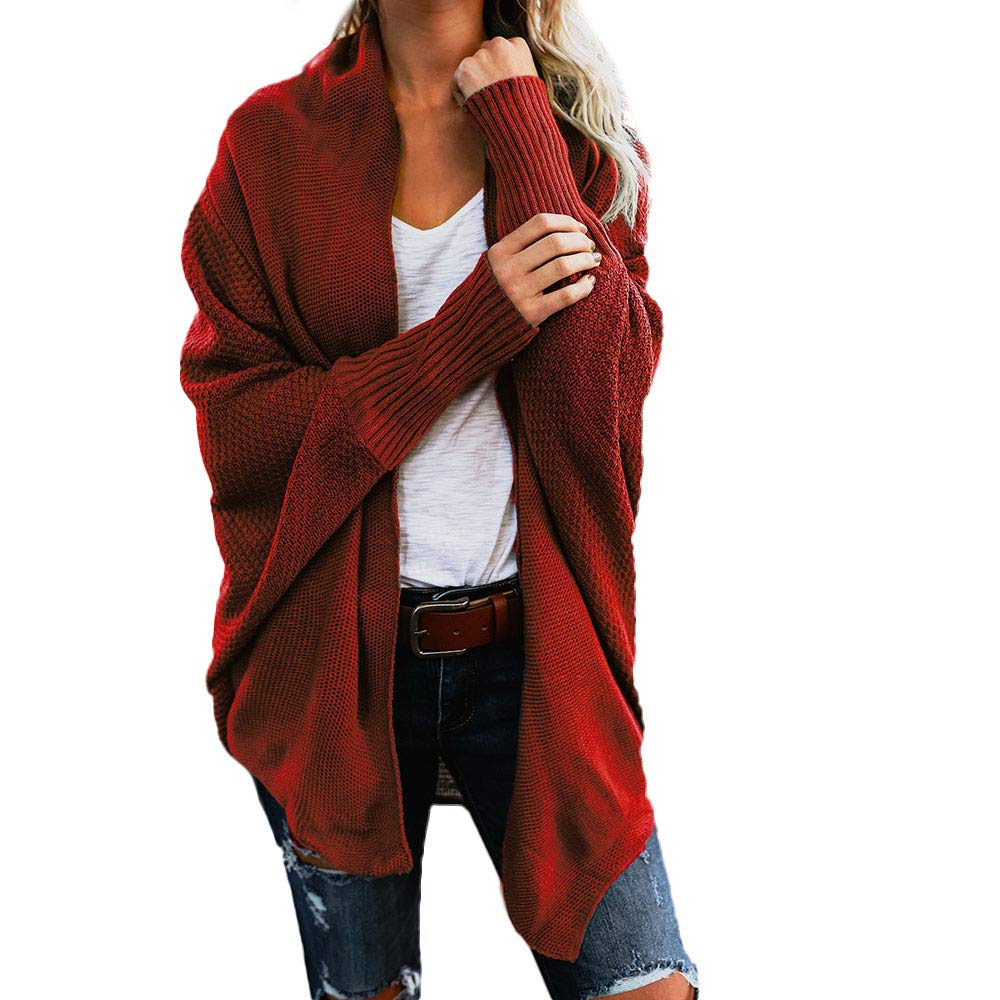 Ulanda Womens Winter Baggy Cardigan Coat Top Chunky Knitted Loose Oversized Sweater Coats Outwear