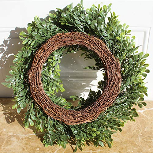 - Natural Garlands Front Door Wreaths, Artificial Boxwood Green Leaves Hanging Wreath for Home Party Indoor Outdoor Window Wall Wedding Party Decoration