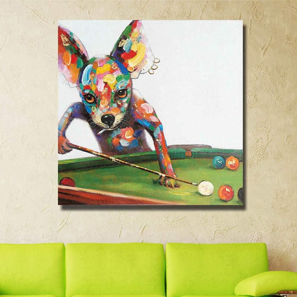 Dibujado a Mano Lienzo Acrilica Pintura al óleo Hogar Pared Arte Decoración Perro Jugando Billar Cuadro Fácil De Colgar,WithFrame,70x70cm: Amazon.es: Hogar