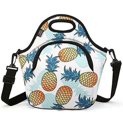 Insulated Lunch Bag, Nuovoware Neoprene Lunch Tote Reusable Picnic Bag Soft Thermal Cooler Tote Multi-purpose Grocery Container with Adjustable Crossbody Strap and Front Zipper Pockets, Pineapple