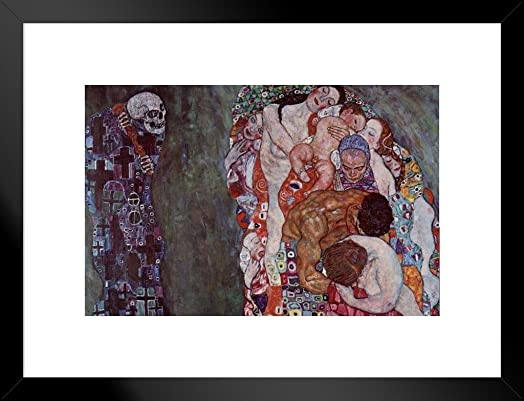 Poster Foundry Gustav Klimt Death and Life Matted Framed Art Print Wall Decor 26×20 inch