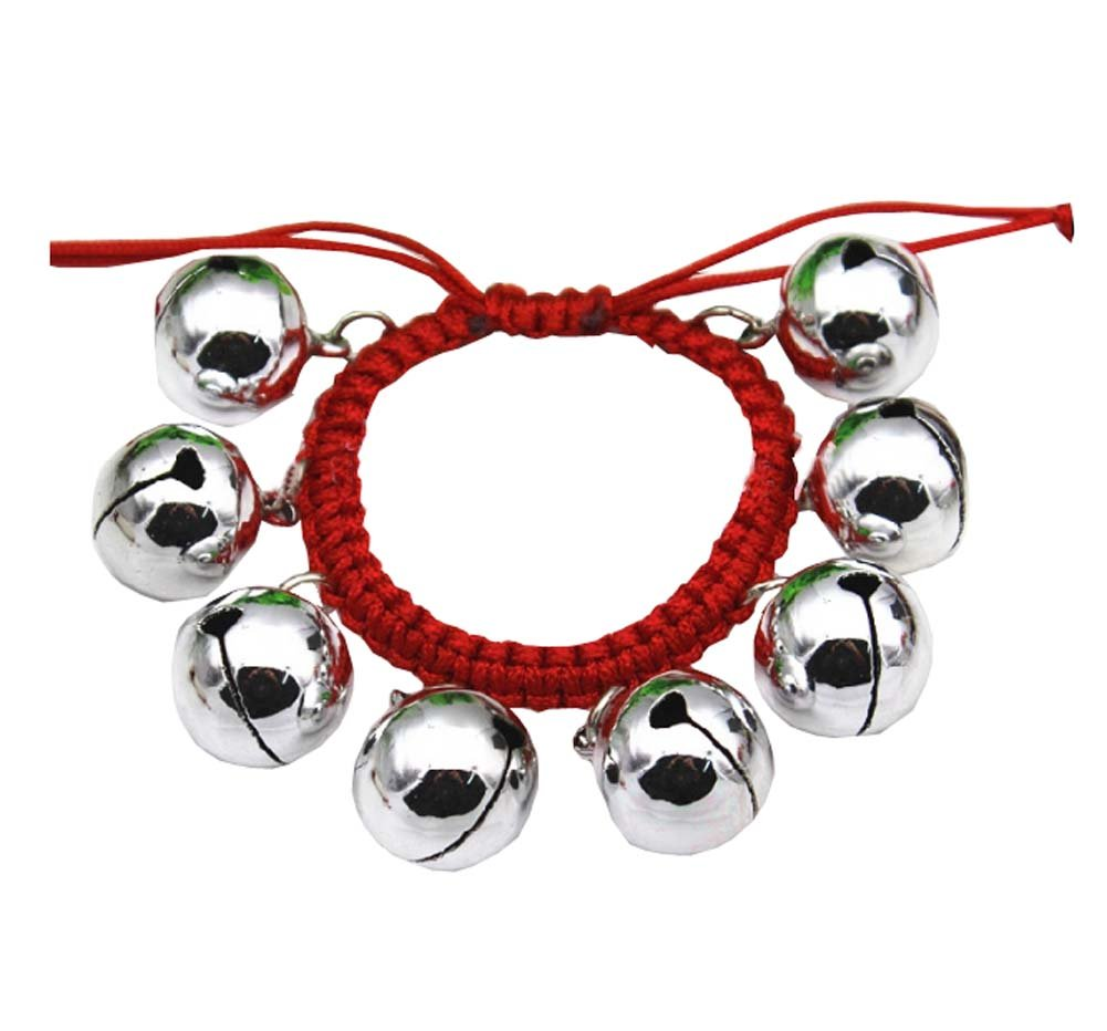 2 PCS Dance Equipment Hand Bells with Red Rope for Dancer/Performance,Silver Dragon Sonic