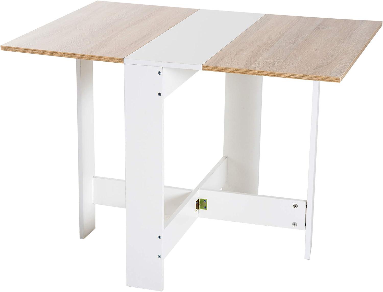HOMCOM Mesa Plegable Cocina Salón Mesa Auxiliar con 2 Alas Abatibles Ahorra Espacio Diseño Moderno 103x76x73.5cm Madera