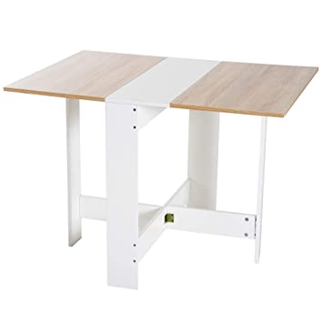 Amazon Table De Cuisine.Homcom Drop Leaf Table Wood Folding Dining Table Multi Use Side Table Dining Desk Space Saving Home Furniture White Oak
