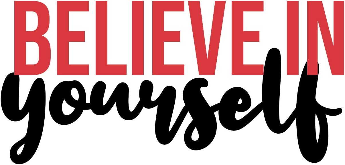 """Fabulous Decor Believe in Yourself Vinyl Wall Decal Inspirational Quotes Wall Art 13"""" W X 6.19"""" H (Red/Black)"""