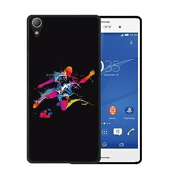 WoowCase Funda Sony Xperia Z2, [Sony Xperia Z2 ] Funda Silicona Gel Flexible Jugador de Fútbol con Balón Deporte 2, Carcasa Case TPU Silicona - Negro
