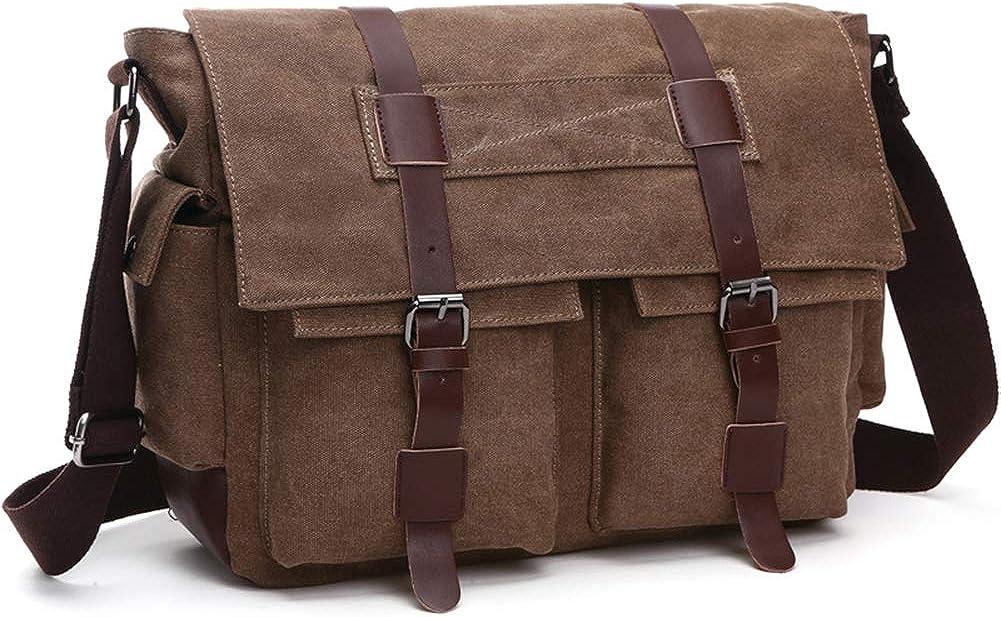 Peacechaos Men Leather Canvas Shoulder Bookbag Laptop Bag School bags Messenger bags