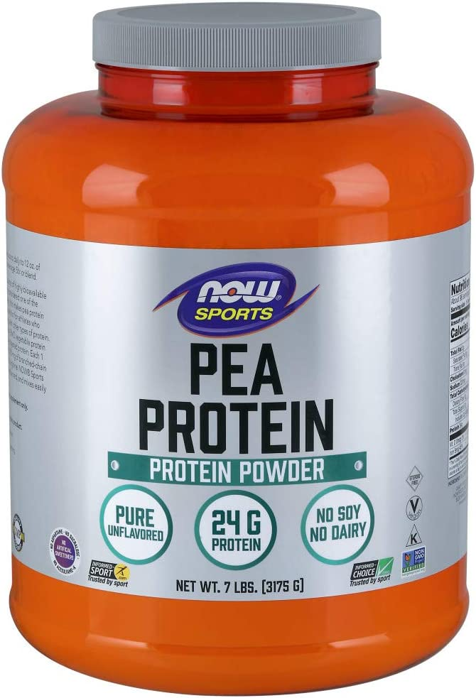 NOW Sports Nutrition, Pea Protein 24 G, Fast Absorbing, Unflavored Powder, 7-Pound: Health & Personal Care