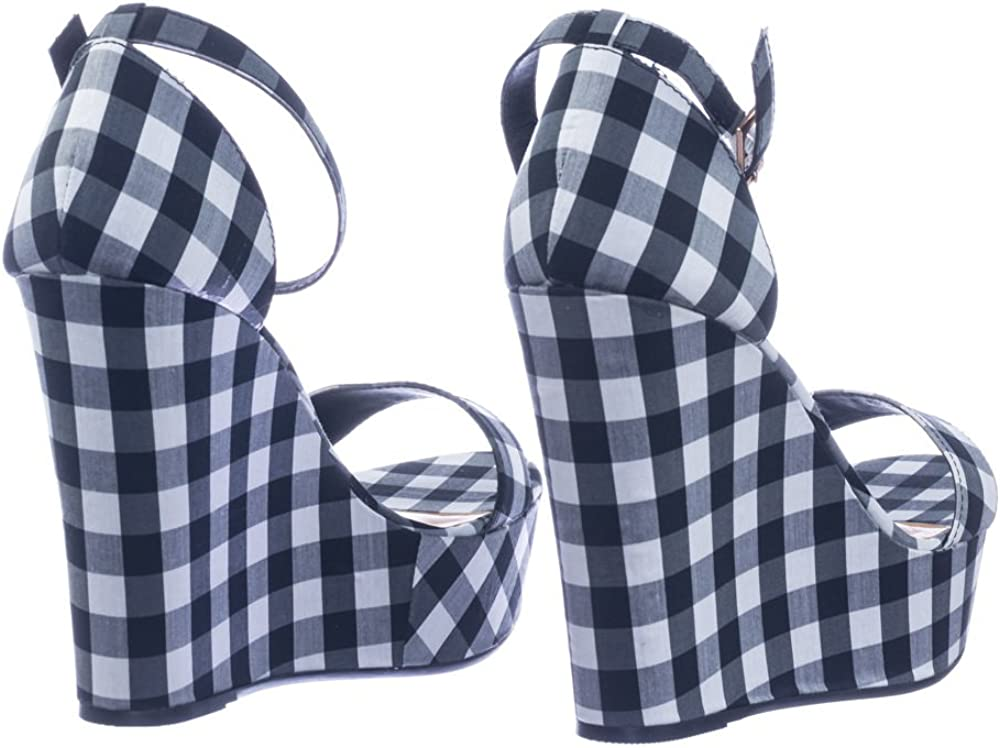 BAMBOO Classic Platform Wedge Open Toe Dress Sandal in Gingham /& Solid