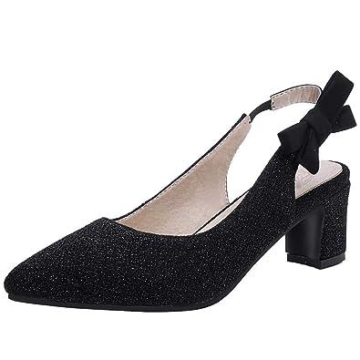 daaad060158 KIKIVA Women Pointy Toe Slingback Pumps Mid Block Heel Court Shoes ...