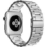 Simpeak Cinturino Sostituzione compatible per Apple Watch 38mm in Acciaio Inossidabile chiusura pieghevole,Cinghia di Polso,Fibbia di Metallo Apple Watch 38mm di Series 1/2/3 Versione 2015 2016 2017