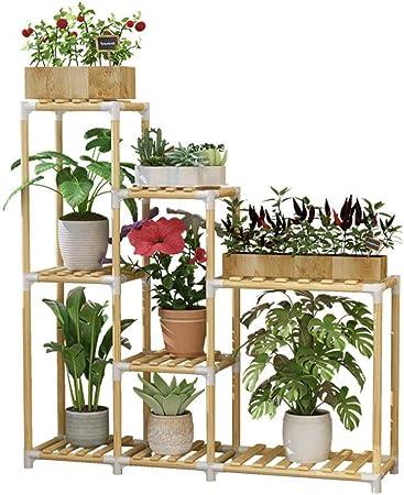 Huahua Furniture Escalera para Flores, Planta de Madera Estantes de pie Flor de Hierba Soporte de exhibición Estante Estante de Almacenamiento Estante 8 macetas al Aire Libre 98x29x84 CM: Amazon.es: Hogar