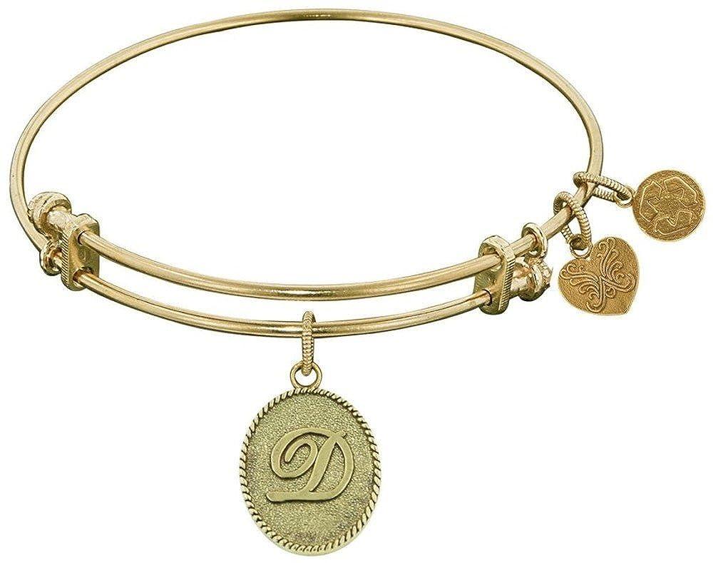 Angelica 7.25 Yellow Stipple Finish Brass Initial D Bangle Bracelet Adjustable