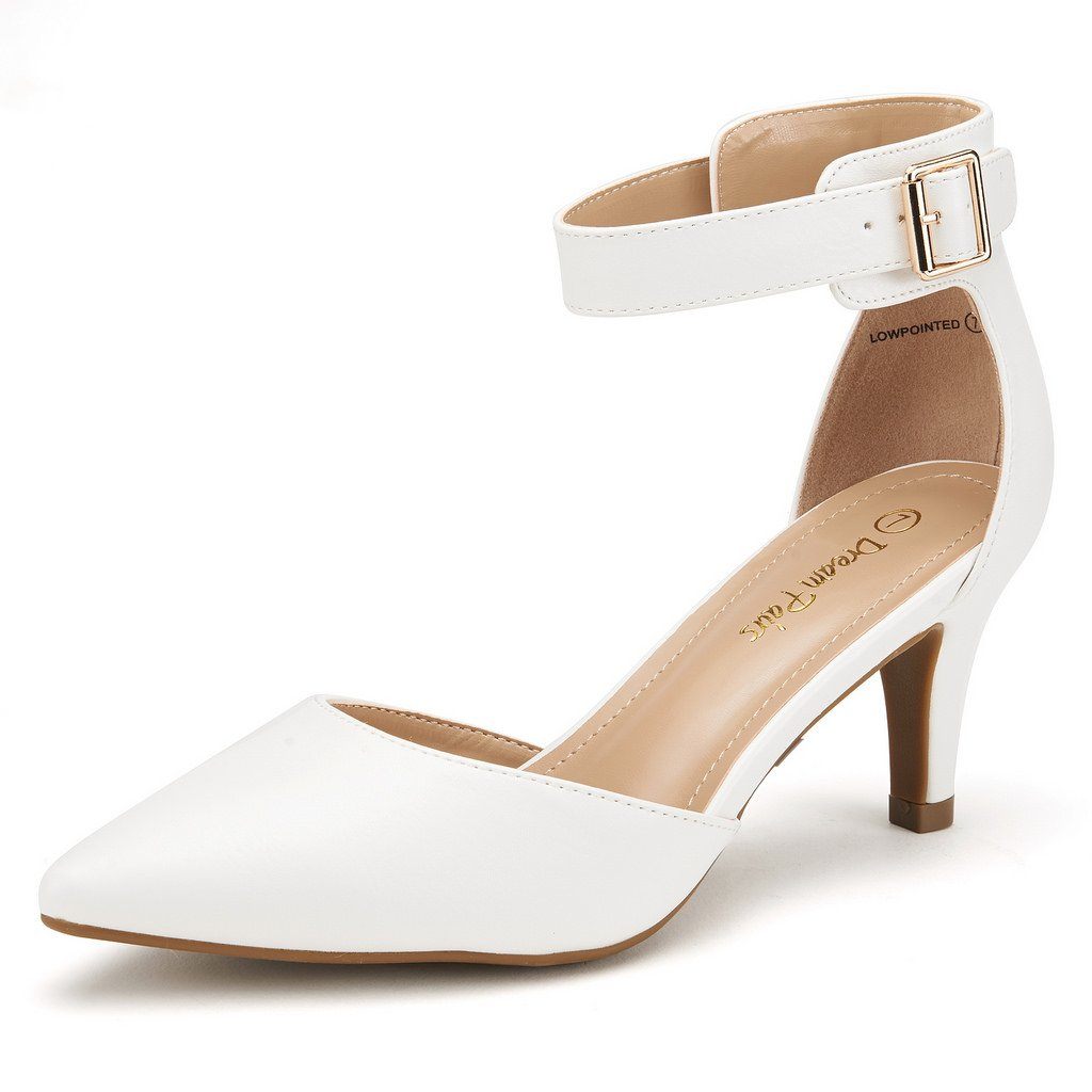 DREAM PAIRS Women's Lowpointed White Pu Low Heel Dress Pump Shoes - 8.5 M US