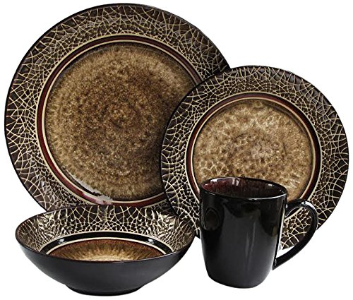 Brown Stoneware (American Atelier 16-Piece Markham Square Dinnerware Set)