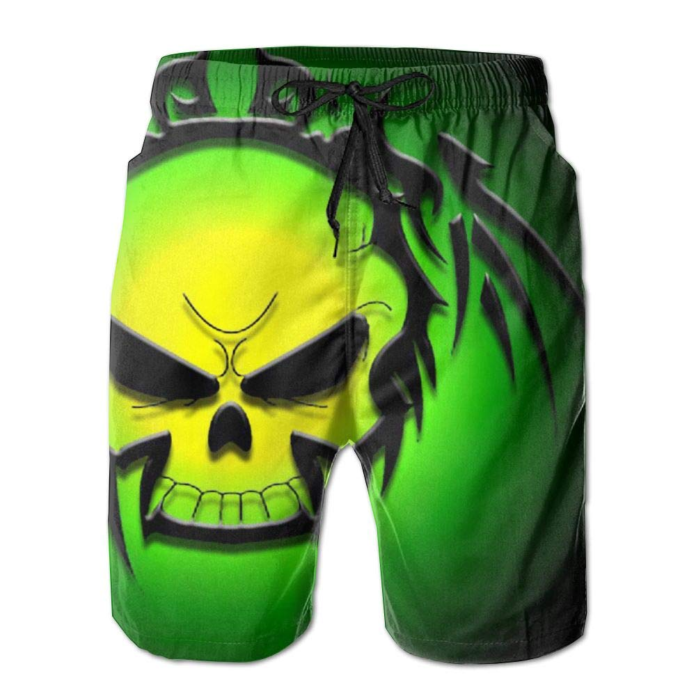 7758e35715 Amazon.com  KJDS Men s Halloween Skull Quick Dry Swim Trunks Beach Shorts  Pants with Mesh Lining Pockets for Dad  Clothing