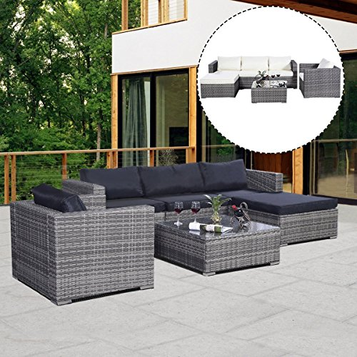... Lawn Backyard Poolside All Weather PE Wicker Rattan Steel Frame  Sectional Cushined Seat Sofa Conversation Set (Gradient Gray With 2 Set  Cushion Covers)