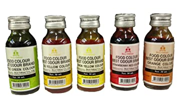 Amazon.com : Best and High Grade Food Coloring Liquid Kit 5 Color ...