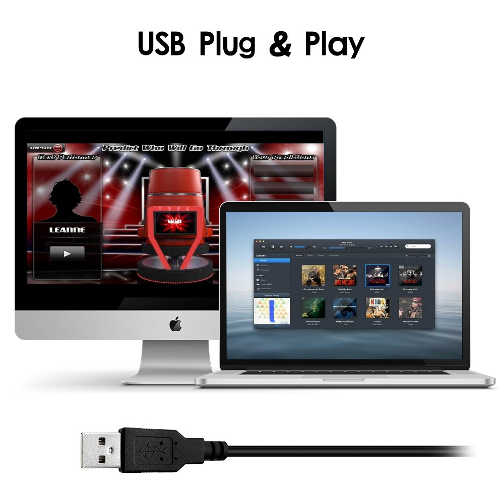 USB Microphone, Microphone for Computer Desktop Laptop Notebook Plug & Play for Recording, Gaming, Podcasting, Online Chatting by XIAOKOA (A2-USB-Black) by XIAOKOA (Image #4)