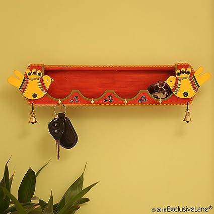 ExclusiveLane \'Chirping Birds\' Key Holder With Shelf Handmade In ...