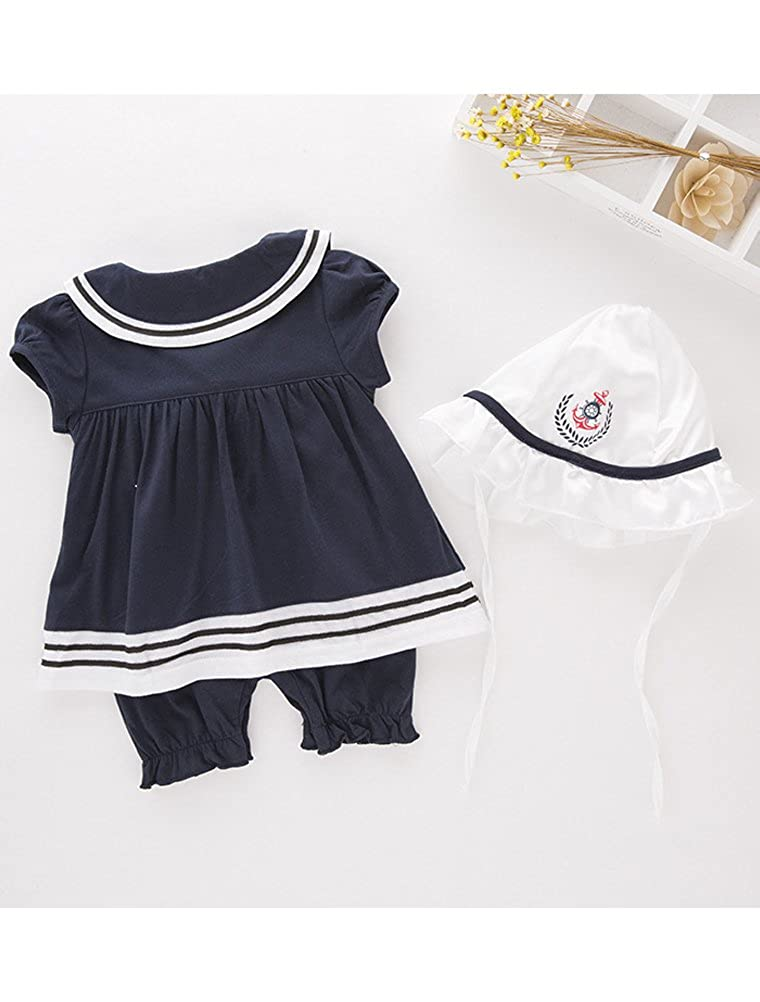 e0dd80359bbb Amazon.com  ARAUS Romper Suit Baby Girls Nautical Sailor Bodysuit with Hat  Summer Clothing Set Outfits 2 Pack for 3-18 Month  Clothing