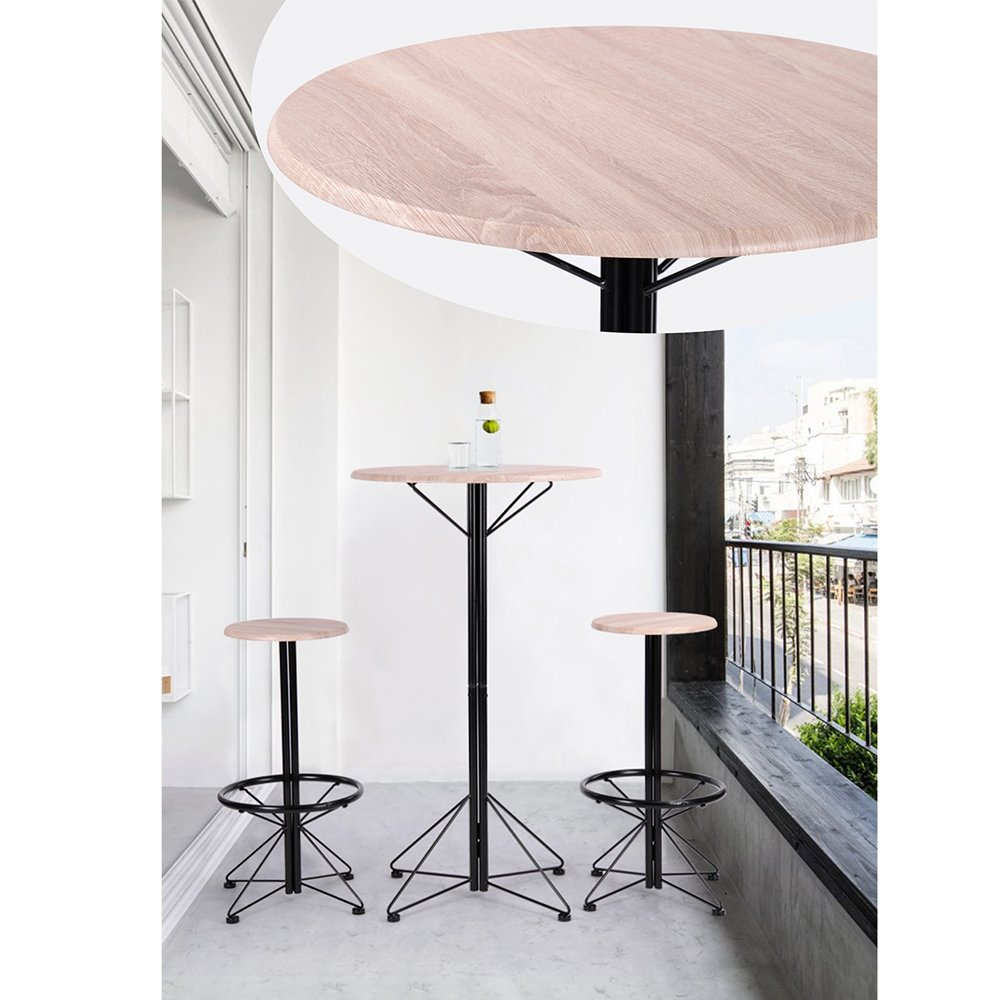 FurnitureR Breakfast Table Set 3pcs Bar Set 2 High Bar Stools and 1 Round Table Panel Metal by FurnitureR (Image #4)