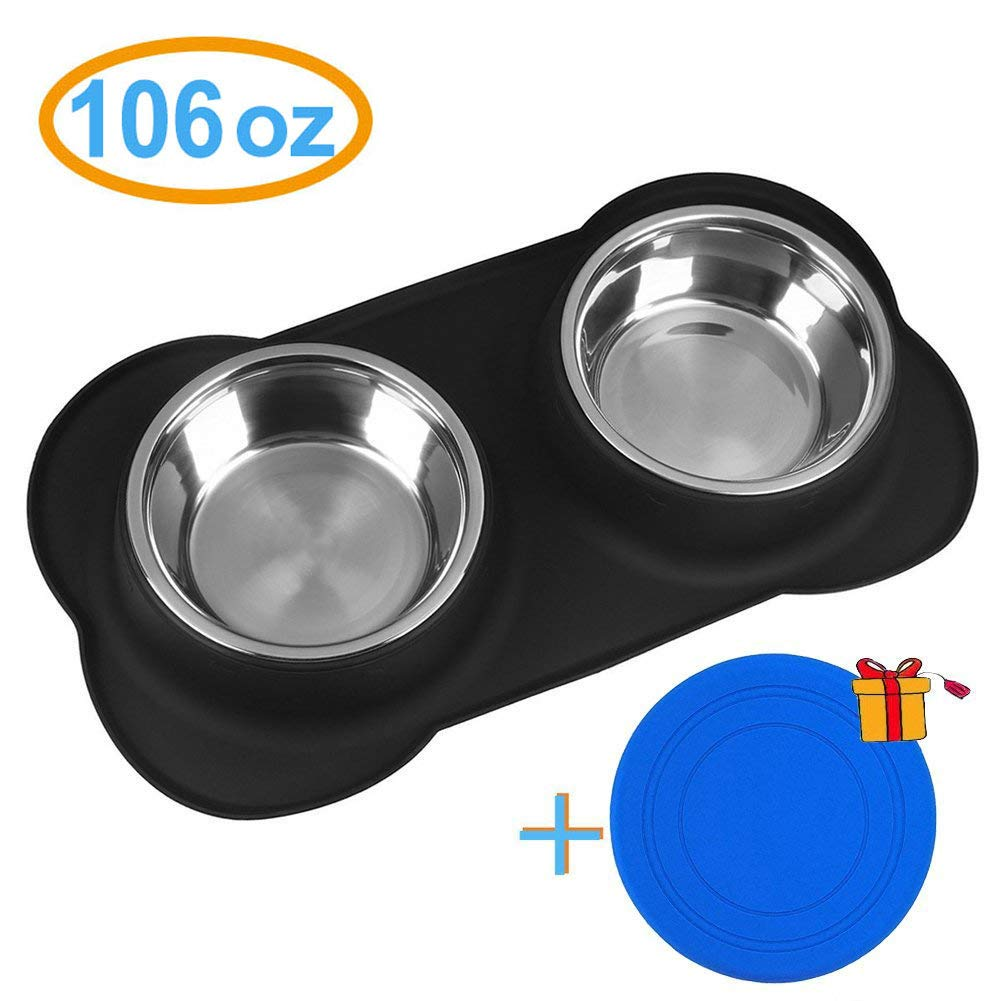 Newstarxy Dog Bowls - Stainless Steel Dog Bowl with Non-Skid & No Spill Silicone Mat | 106 oz Large Feeder Pet Bowls for Dogs Cats Pets Up to 110 lbs, Set of 2(Black) | with Dog Flying Toy