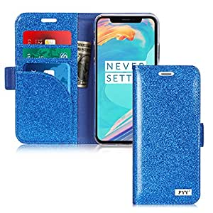 FYY iPhone Xs 2018/iPhone X/10 2017 Case Genuine Leather Wallet Case, Handmade Flip Folio Wallet Case with Kickstand Card Slots Magnetic Closure Navy
