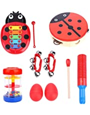 Toddler Toys Musical Instruments, 6Types 8 PCS Percussion Toy Set for Boys and Girls Baby Preschool Educational Early Learning