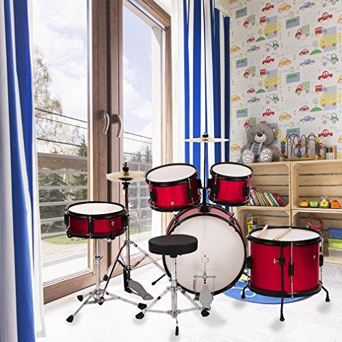 (BestMassage Drum sets Children Kids Complete 16 inch Junior Drum with Metallic Red)