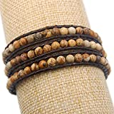 Hot Colorful Handmade Mixed Crystal and Gemstones Beads Wrap Leather Bracelet Color:Picture Jasper 3 Wrap
