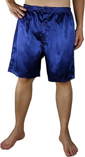 VICTORIA SILK - Pack de 2 Pantalones Cortos de Pijama de Seda para Hombre, Color Azul Oscuro y Negro - - Medium: Amazon.es: Ropa y accesorios