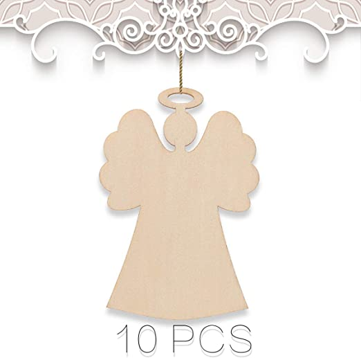 10 x tall ANGELS with 3 hearts UNPAINTED WOODEN CHRISTMAS TREE HANGING GIFT TAG