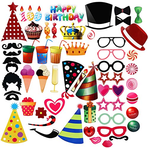 Unomor Birthday Photo Booth Props for Birthday Party Favors- 56 Count ()