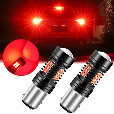 Sidaqi 1157 2357 2057 7528 BAY15D LED Bulb 2-pack, Brilliant Red 21-SMD with Double Lens 12V Work as Brake Lights, Tail Lights: Automotive