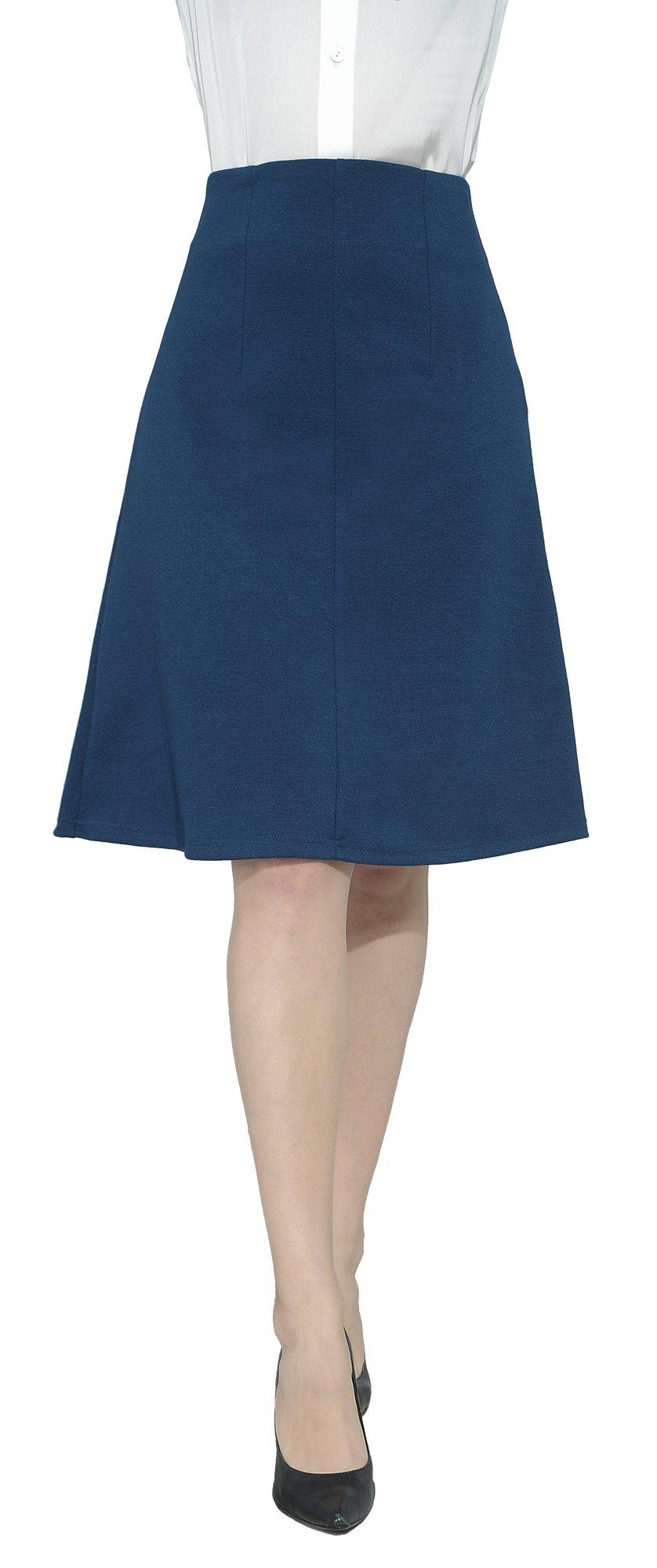Marycrafts Women's Work Office Business Knee Flared A Line Midi Skirt XXL Dark Cyan