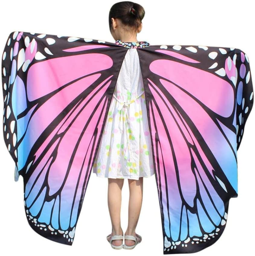 HARRYSTORE Adults and Kid Baby Girl Butterfly Wings Shawl Scarves Nymph Pixie Poncho Costume Accessory Fancy Dressing Up Party Cosplay Clothes Summer Beach Kimono Adults, Hot Pink