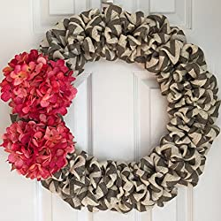 Valentine's Day Wreath for Front Door - Burlap Valentine's Wreath - Pink Hydrangea Wreath - Chevron Burlap Wreath - Spring Burlap Wreath