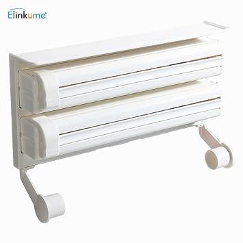ELINKUME rollo de papel dispensador, dispensador de Triple para papel higiénico con plástico protector,