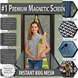 Premium Magnetic Screen Door - KEEP BUGS OUT, Let Fresh Air In. Instant Mosquito, Insect and Fly Screen with Magic Magnetic Closure. Retractable Mesh Door Screen. (Fits Doors UP TO 34