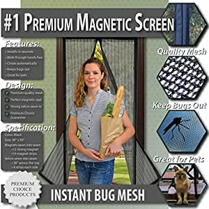 "Premium Magnetic Screen Door - KEEP BUGS OUT, Let Fresh Air In. Instant Mosquito, Insect and Fly Screen with Magic Magnetic Closure. Retractable Mesh Door Screen. (Fits Doors UP TO 34"" x 82"")"