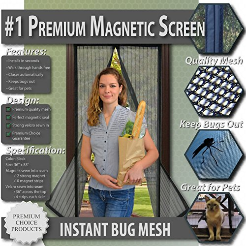 Premium Magnetic Screen Door - KEEP BUGS OUT, Let Fresh Air In. Instant Mosquito, Insect and Fly Screen with Magic Magnetic Closure. Retractable Mesh Door Screen. (Fits Doors UP TO 36
