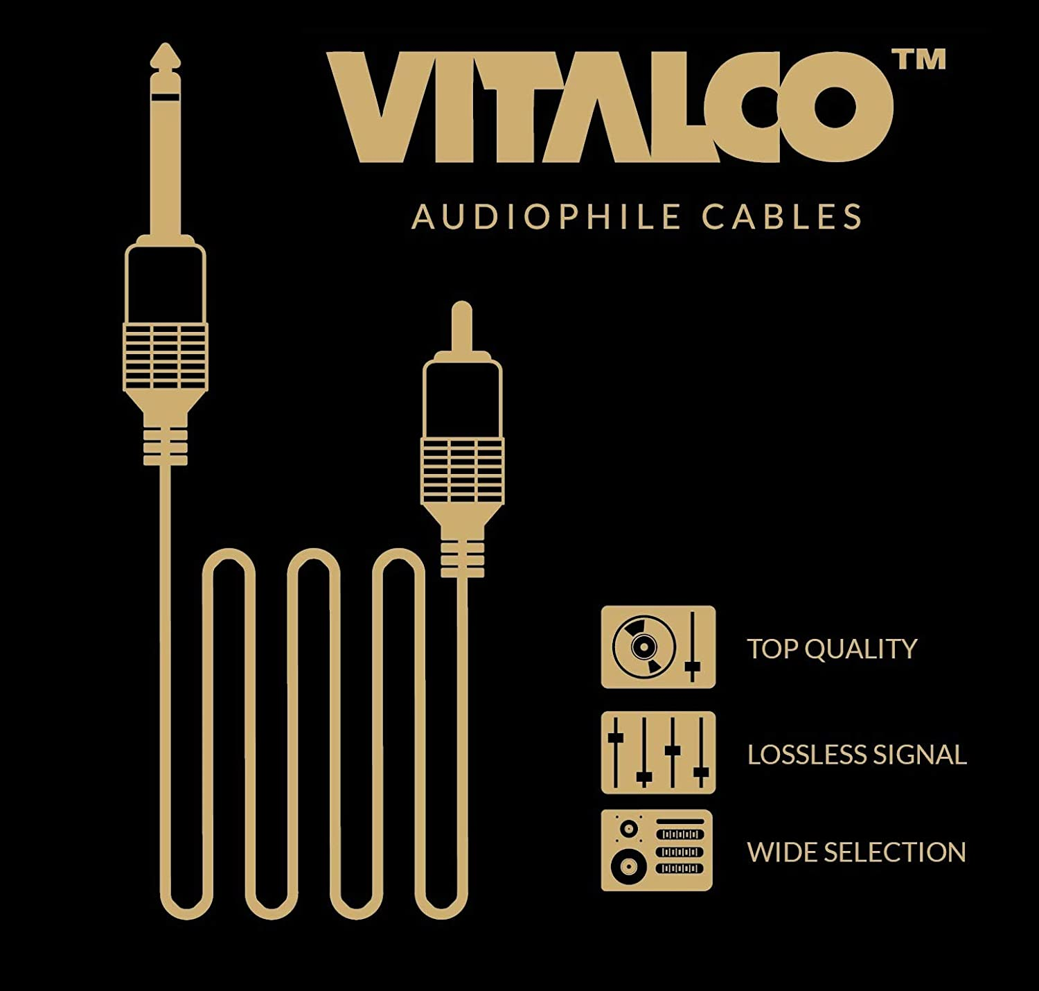 Jack 6.35mm Mono to 2 RCA Cable 1.5m Y Splitter Lead Vitalco 1//4 Inch TS to Twin Phono Male to Male Plug Audio Adapter Gold OFC